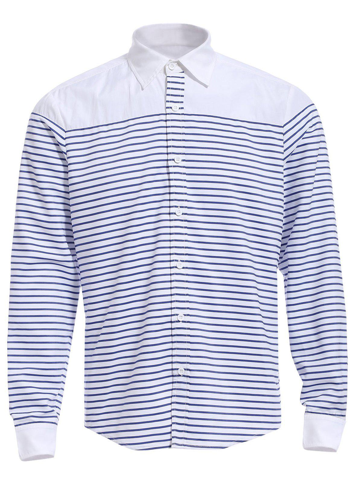 4539b384cf Outfit Refreshing Turn-down Collar Color Block Long Sleeves Striped Shirt  For Men