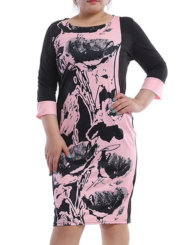 Buy Casual Plus Size Jewel Neck Printed 3/4 Sleeve Shift Dress For Women