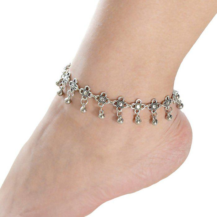 Chic Flower Ball Pendant Leg AnkletJEWELRY<br><br>Color: SILVER; Gender: For Women; Style: Trendy; Shape/Pattern: Floral; Weight: 0.030kg; Package Contents: 1 x Anklet;