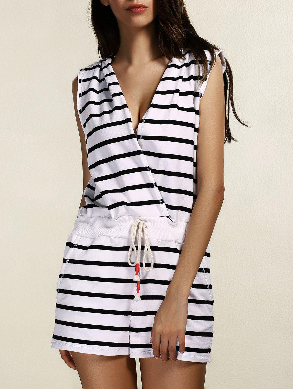 Outfits V Neck Sleeveless Striped Hooded Romper