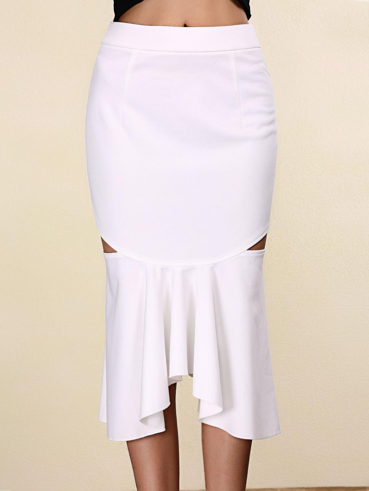 Unique Women's Stylish Pure Color Mermaid Cut Out Skirt