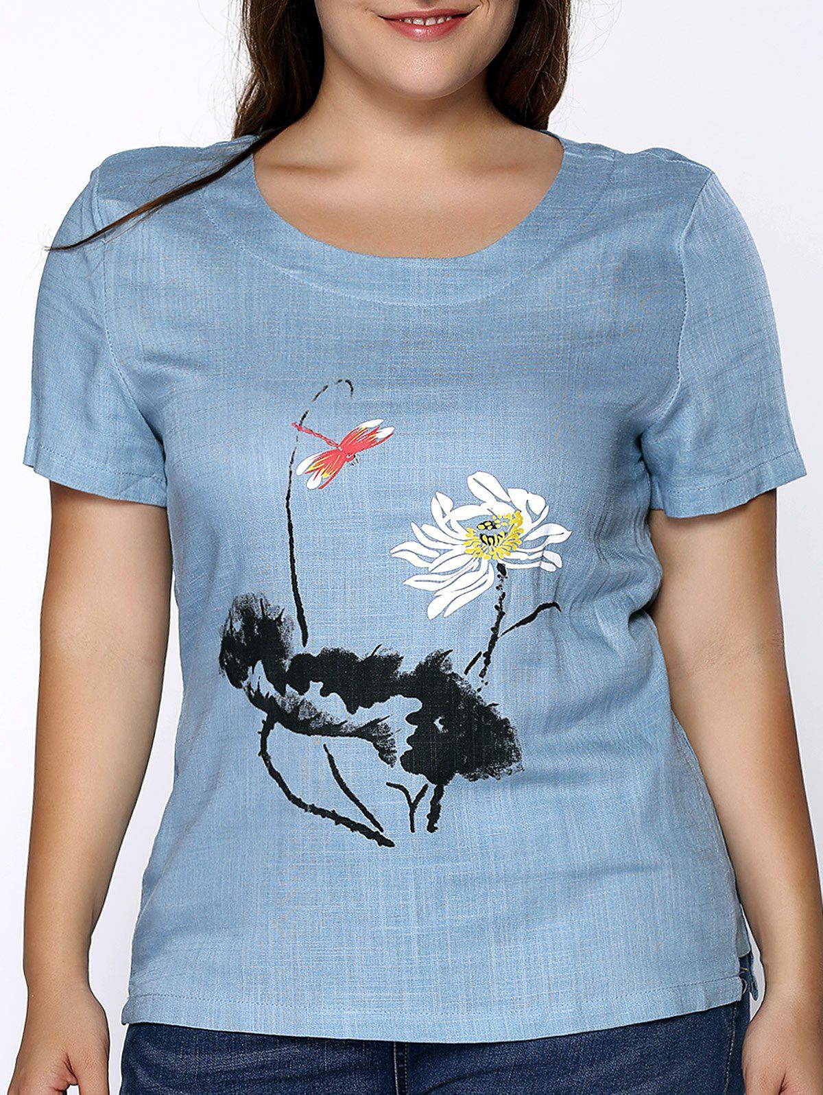 Buy Chic Round Neck Short Sleeve Plus Size Floral Print Women's T-Shirt