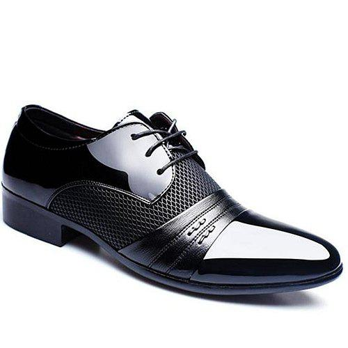 Shop Trendy Splicing and Pointed Toe Design Formal Shoes For Men