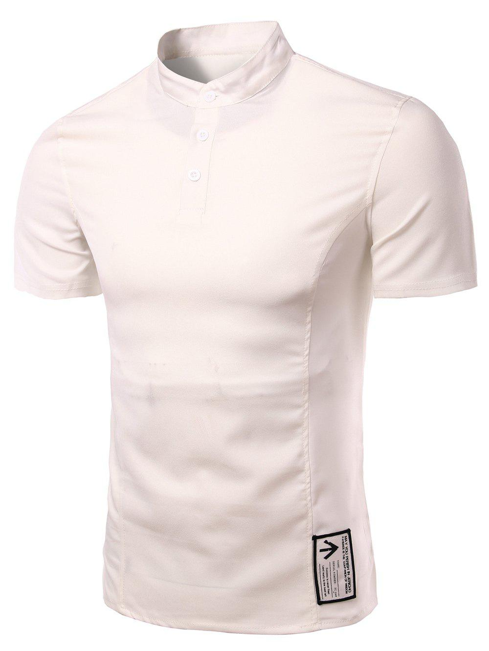 White trendy solid color button design henley shirt for for Solid color button up shirts
