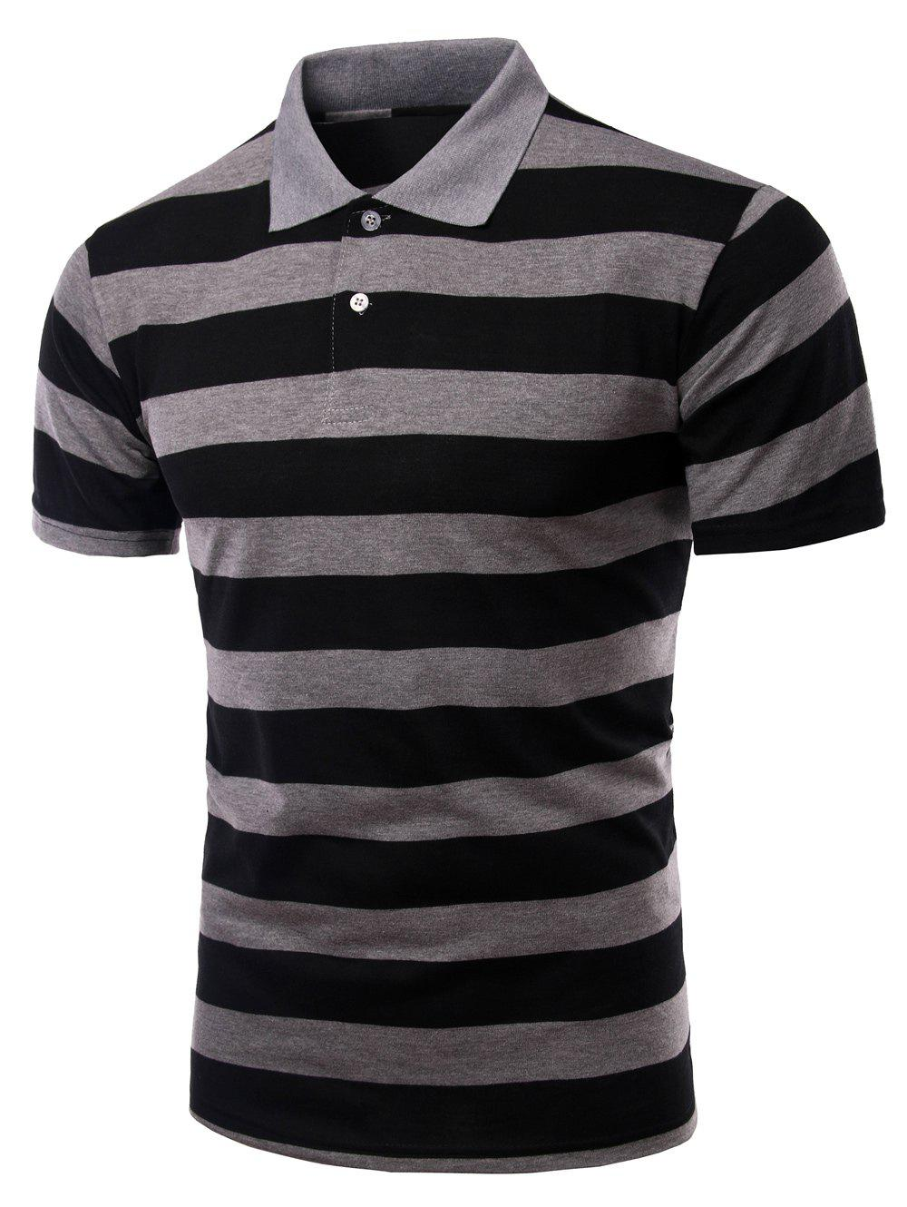 Chic Striped Turn-down Collar Short Sleeves T Shirt For Men