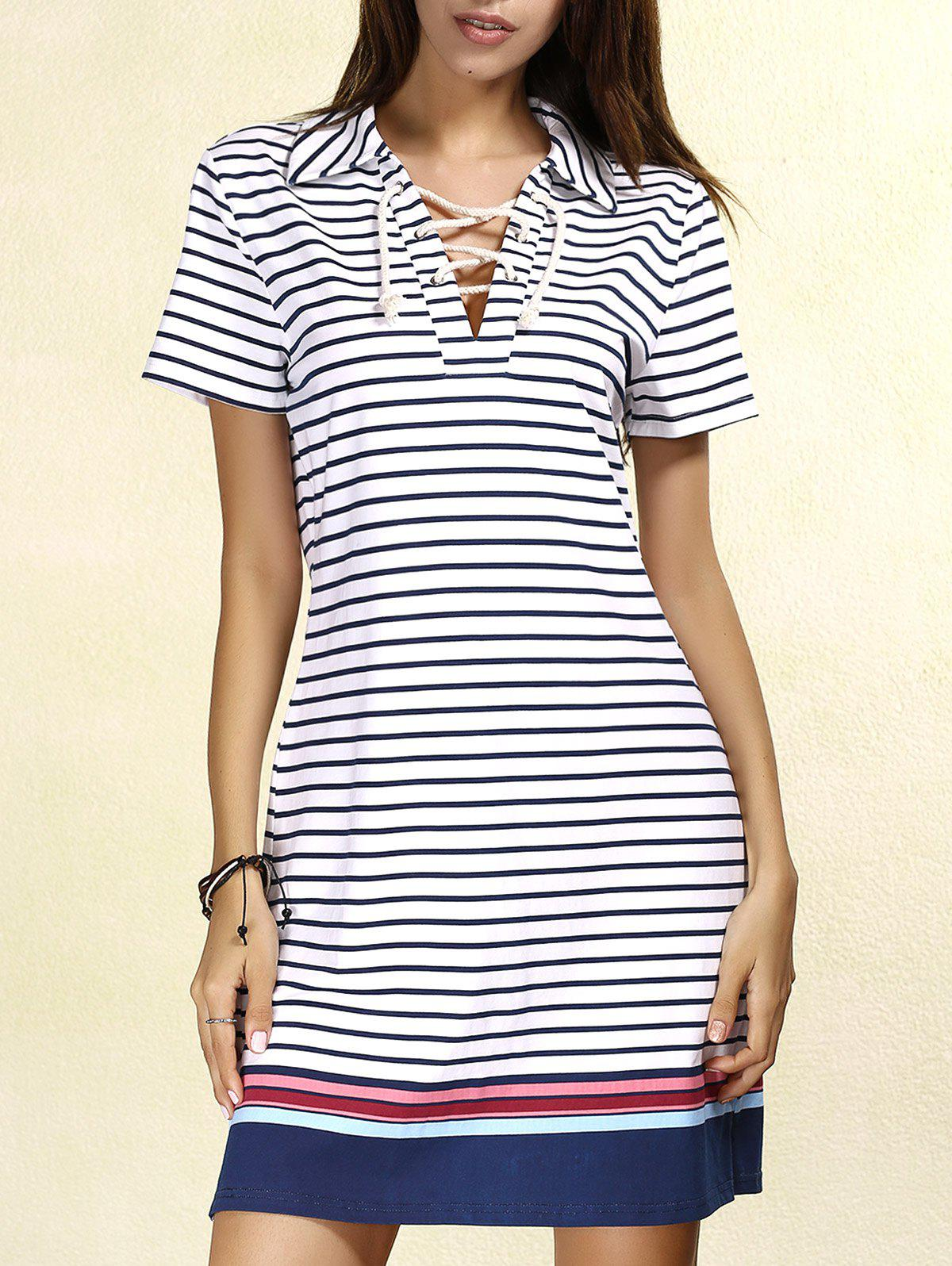 Latest Striped Lace-up T-shirt Casual Dress