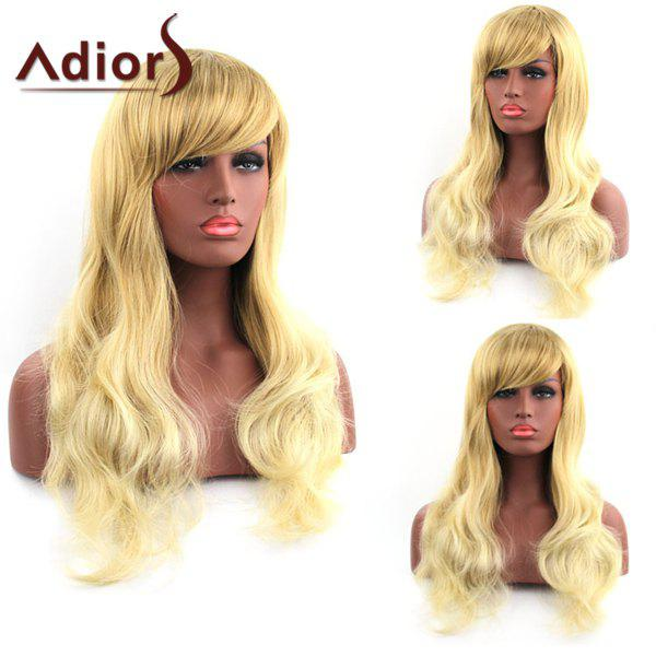 Discount Stunning Long Side Bang Synthetic Fluffy Natural Wave Blonde Mixed Adiors Wig For Women