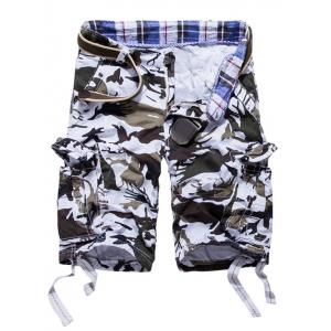 Loose Fit Multi-pockets Camo Printed Men's Cargo Shorts - White - 38