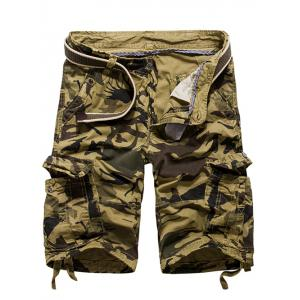 Loose Fit Multi-pockets Camo Printed Men's Cargo Shorts - Khaki - 31