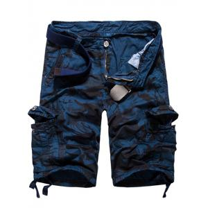 Loose Fit Multi-pockets Camo Printed Men's Cargo Shorts - Blue - 36