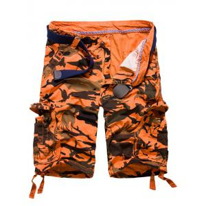 Loose Fit Multi-pockets Camo Printed Men's Cargo Shorts