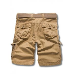Loose Fit Solid Color Men's Cargo Shorts - EARTHY 31