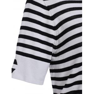 Casual Style Round Neck Half Sleeves Striped Pullover Sweater For Women -