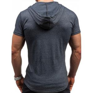 Hooded Headset and Letters Print Short Sleeve T-Shirt For Men - DEEP GRAY 2XL