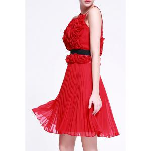 3D Flower Pleated Prom Dress -