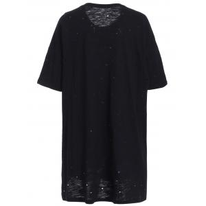 Trendy Round Neck Letter and Head Print Short Sleeve Women's Tee -