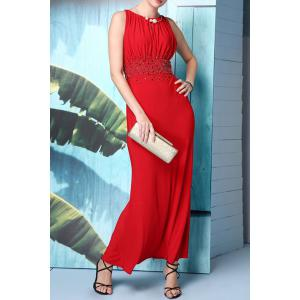 Beaded Solid Color Maxi Evening Dress -