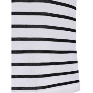 Brief Style Round Neck Half Sleeves Striped Dress For Women -