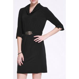 Shawl Collar Belted Bodycon Dress -