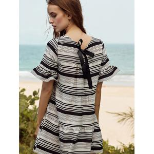 Stylish Round Neck Butterfly Sleeve Loose Striped Women's Dress - WHITE L