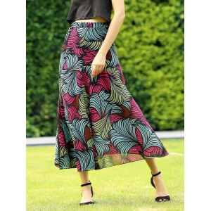 Retro Style Colormix Printed Skirt For Women -