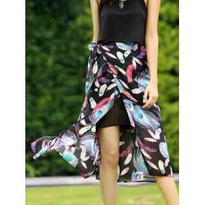 Stylish Feather Print Side Slit Skirt For Women -