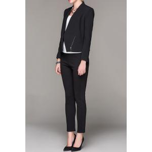 Plunging Neck Zippered Black Blazer -