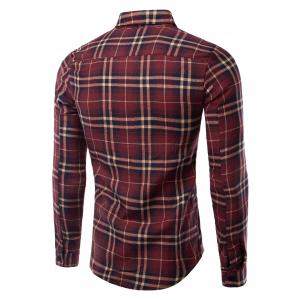 Turn-Down Collar Pocket Checked Pattern Long Sleeves Shirt For Men - WINE RED 2XL