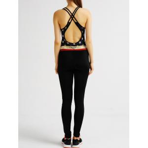 Active Backless Star Pattern Criss Cross Yoga Jumpsuit For Women -