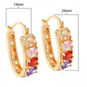 Pair of Alloy Rhinestone Hollow Out Hoop Earrings - GOLDEN