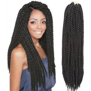 Fashion Long Twisted Rope Braid Synthetic Hair Extension For Women - Black