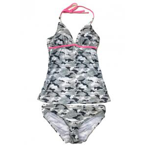 Halter Padded Camouflage Underwire Tankini Swimsuit - Acu Camouflage - M