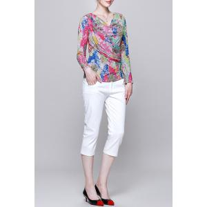 Cowl Neck Colorful Long Sleeve Blouse -