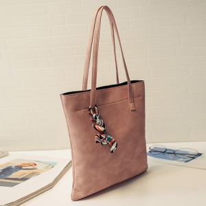 Leisure Solid Color and PU Leather Design Shoulder Bag For Women - LATERITE