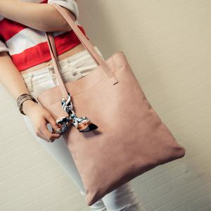 Leisure Solid Color and PU Leather Design Shoulder Bag For Women -