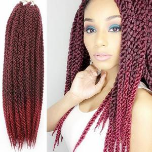 Vogue Twisted Rope Braid  Red Ombre Color Long Synthetic Hair Extension For Women