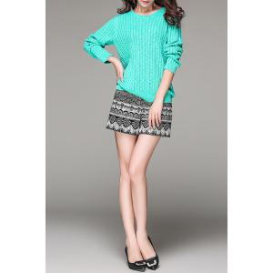Zippered High Waisted Patterned Shorts -