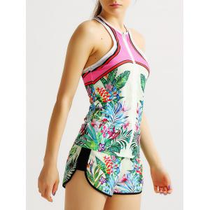 Racerback Zip Printed Running Tank Top -