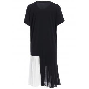 Casual Jewel Collar Short Sleeve Hit Color Pleated Dress For Women -