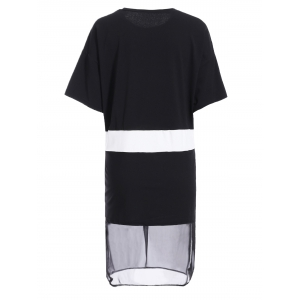 Simple Style Jewel Collar Short Sleeve Hit Color Spliced Dress For Women -