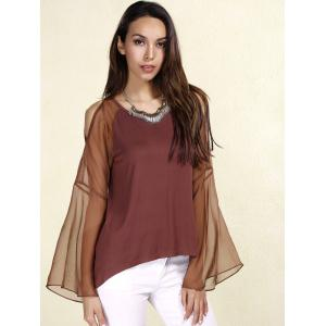 Sexy Scoop Neck Long Sleeves Chiffon Splicing T-Shirt For Women - COFFEE L