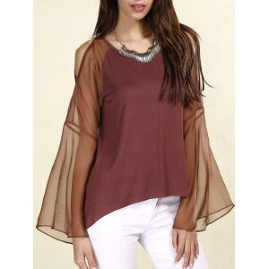 Sexy Scoop Neck Long Sleeves Chiffon Splicing T-Shirt For Women