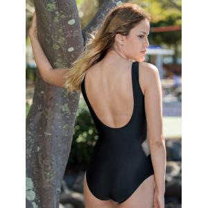 Chic U Neck Hit Color One-Piece Women's Swimwear - BLACK M