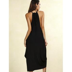 Stylish High Neck Sleeveless Solid Color Wrap Dress For Women -