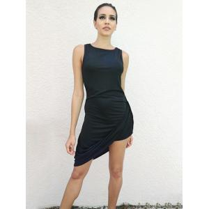 Asymmetrical Draped Club Bodycon Dress - BLACK S
