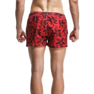 Fashion Plants Printed Boardshorts For Men - RED M