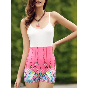 Chic Spaghetti Strap Sleeveless Printed Bodycon Women's Romper
