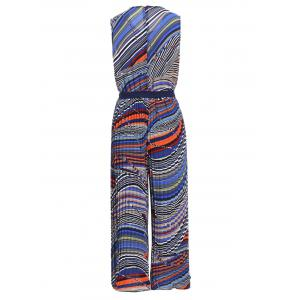 Chic Women's Sleeveless Ethnic Print Jewel Neck Wide Leg Jumpsuit -