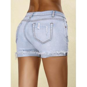 Stylish Rippped Denim Cuffed Shorts For Women -
