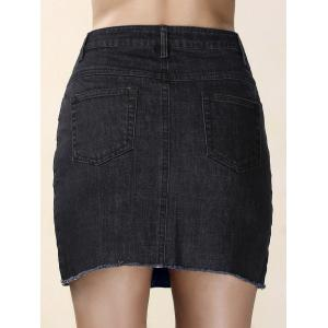 Pockets Denim Mini Skirt - BLACK L